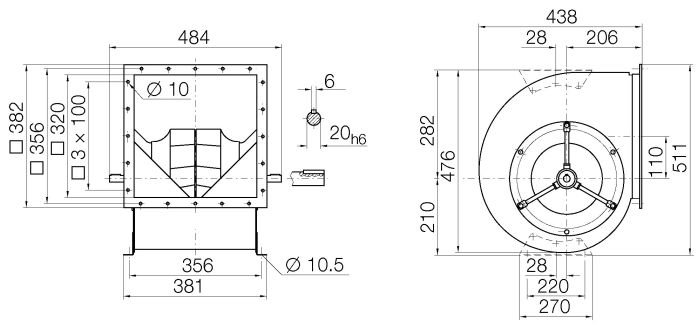 Images Dimensions - RZR19-0250 Centr.vent. 090/270 - Systemair