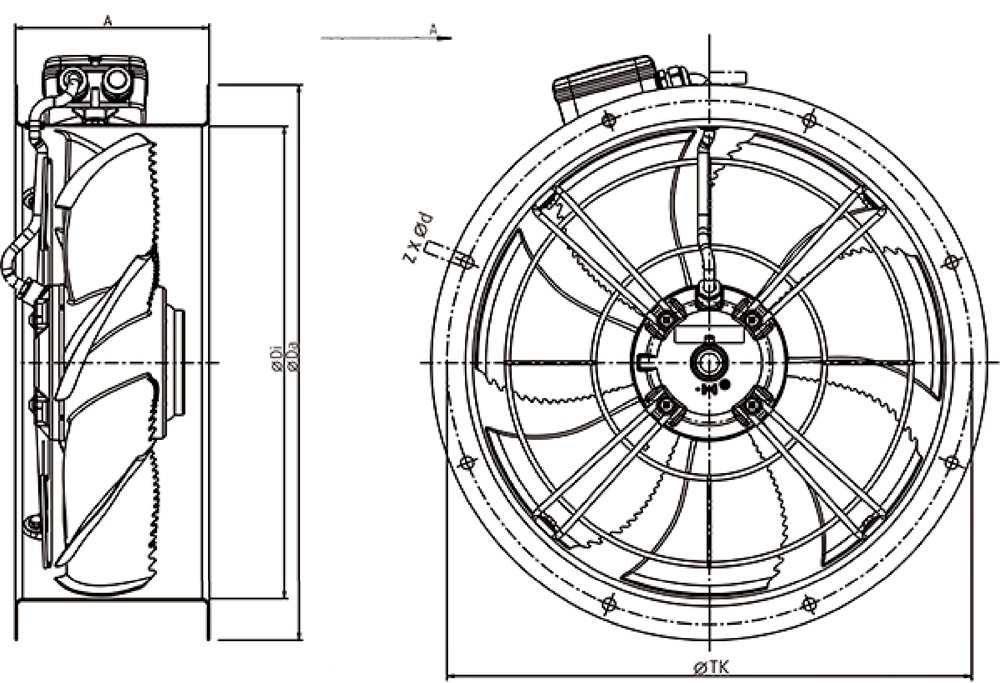Images Dimensions - AR 500E4 sileo Axial fan - Systemair