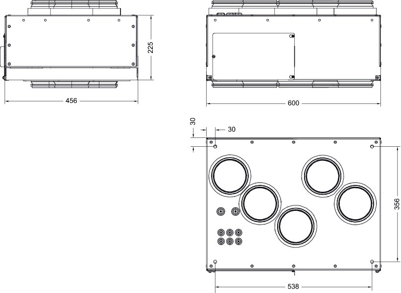 Images Dimensions - Ceiling Mounting kit VTR250L - Systemair