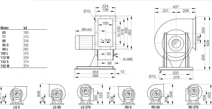 Images Dimensions - TEM08-0250-4D-11 RD0 0.75 Kw - Systemair