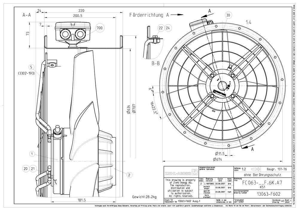 Images Dimensions - ZAC 630-43 Cased axial fan - Systemair